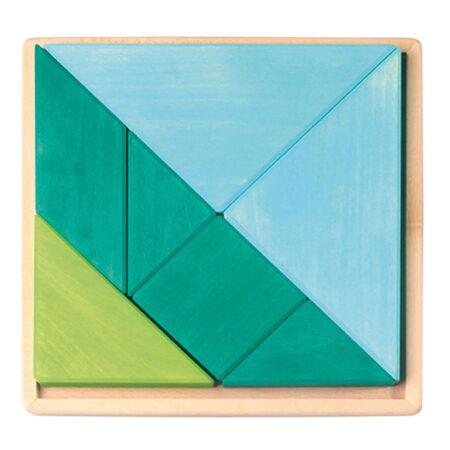 Tangram 3D Holzpuzzle blau